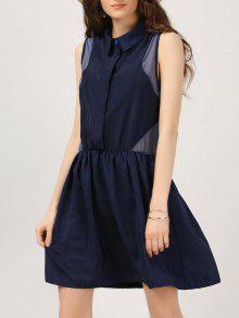 Half Button Voile Panel Casual Dress - Purplish Blue L