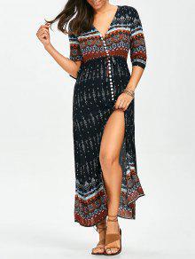 فستان ماكسي بوهيمي انقسام زر طباعة قبلية - L