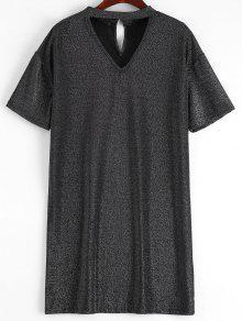 Mini Vestido Con Gargantilla Brillante - Negro M
