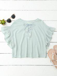 Cropped Lace Up Ruffled T-Shirt - Mint S