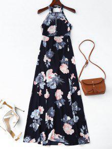 Vestido Maxi Floral Con Abertura Frontal Con Nudo  - Azul Purpúreo M