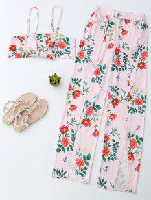 Floral Crop Cami Top With Side Slit Pants - Pink S