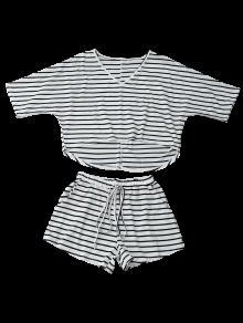 Camiseta Baja A 243;n Con Cord Raya Rayas M Alta Con Shorts S5wqSC