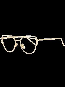 Metal Bar Golden Frame Pilot Gafas De Sol - Transparente
