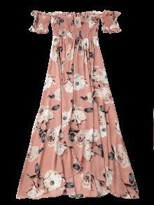 Corrugado Hombro Fuera Con M Del Abertura Floral Maxi Vestido Rosado RqxwE4WvHn