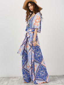Con De Con Cinta Estampado M Vestido Kimono Manga Maxi De R5xSZqw