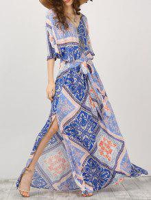 Kimono Sleeve Belted Printed Maxi Dress - M