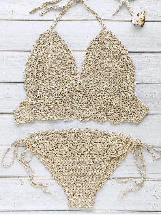 Halter Handwork Crochet Bikini - Kaki Taille Unique(S'adap