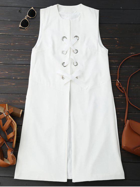 Back Slit Lace Up Longline Waistcoat - White S