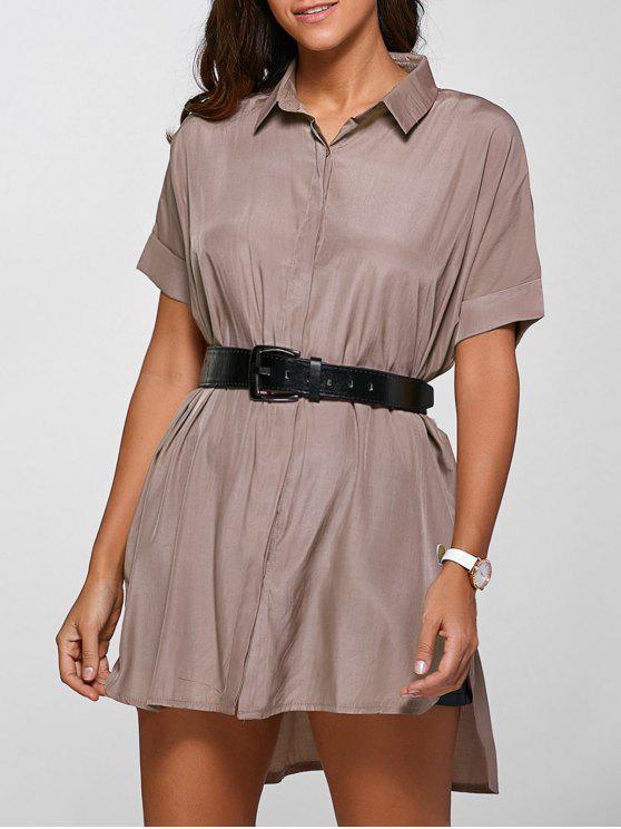 fancy High Low Half Sleeve Shirt Dress - DEEP PINK M