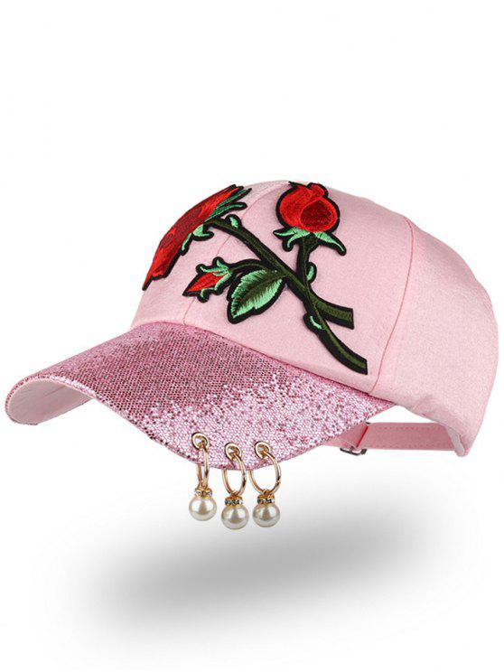 قبعة بيسبول مطرزة بورود ومزينة بخرز وحلقات - زهري