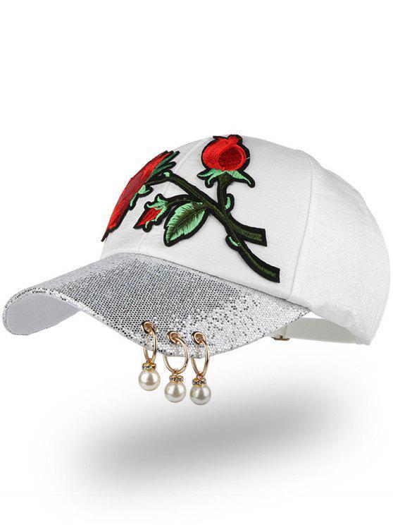 روز التطريز الترتر مطرز الدوائر قبعة البيسبول - أبيض