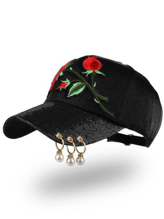 قبعة بيسبول مطرزة بورود ومزينة بخرز وحلقات - أسود