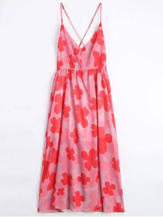 unique Four-Leaf Clovers Print Backless Beach Dress - PINK S
