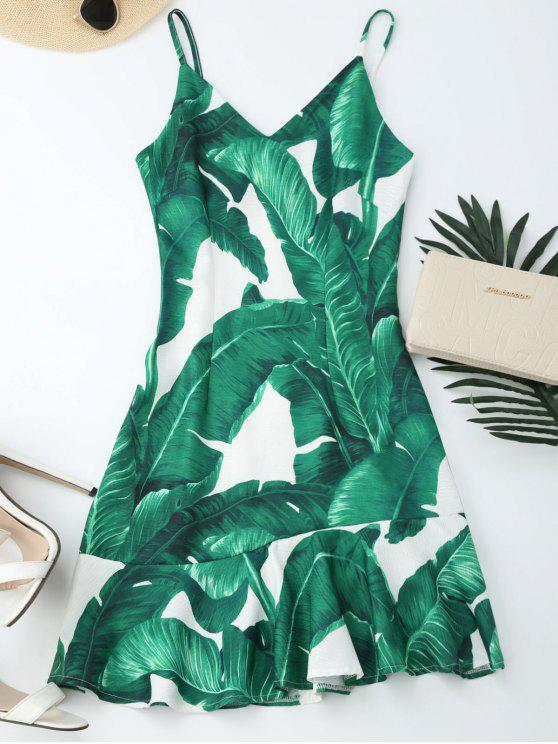 buy Tropical Print Ruffle Slip Summer Dress - GREEN S