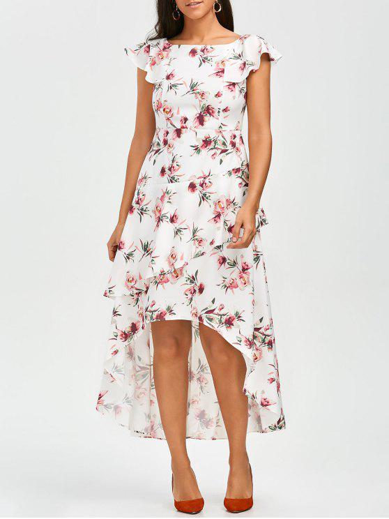 Robe asymétrique à rayures en ligne A - Floral S