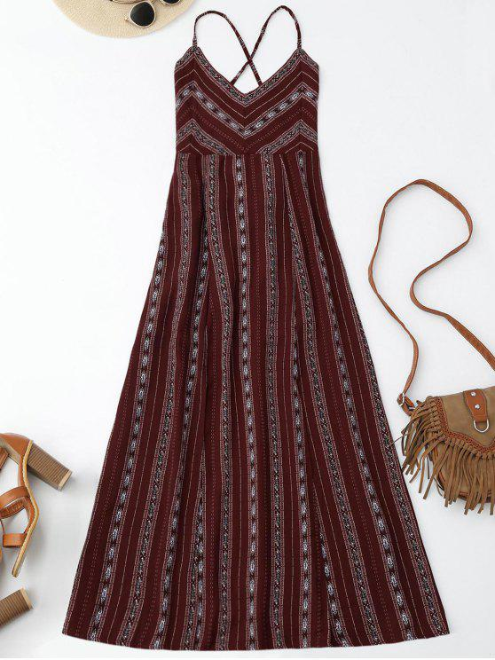 hot Slit Stripe Lace Up Backless Maxi Dress - WINE RED S