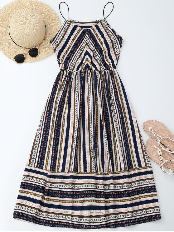 trendy Elastric Waist Multi Stripes Sundress - COLORMIX XL