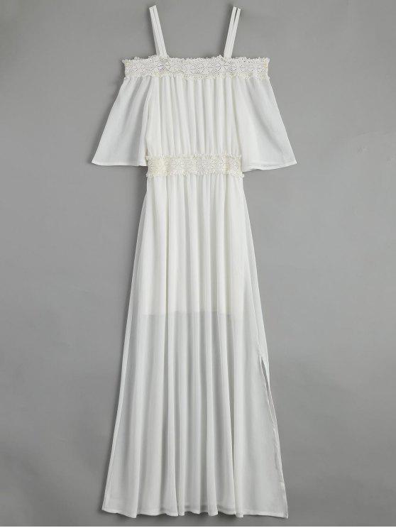 Correas de hombro frío vestido de encaje de gasa Maxi - Blanco L
