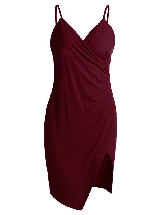 unique Spaghetti Strap Ruched Asymmetric Bodycon Dress - WINE RED M