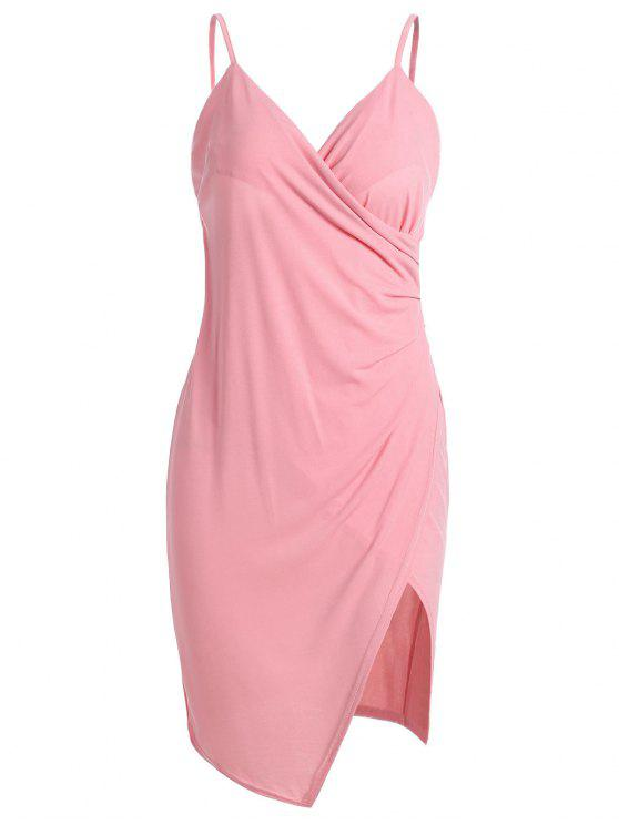 women's Spaghetti Strap Ruched Asymmetric Bodycon Dress - PINK S