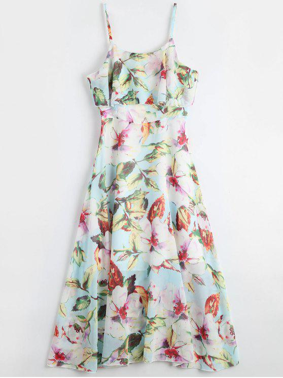affordable Floral Ruffle Spaghetti Strap Bohemian Dress - FLORAL M