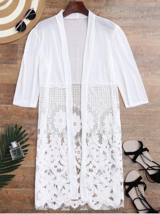 womens Mesh Panel Lace Kimono Cover Up - WHITE ONE SIZE