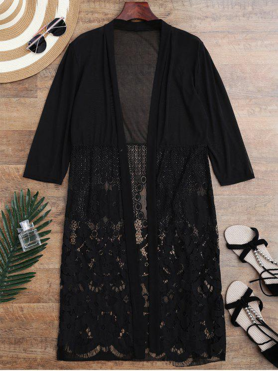 women Mesh Panel Lace Kimono Cover Up - BLACK ONE SIZE