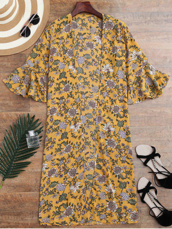 women's Bell Sleeve Tiny Floral Slit Kimono Cover Up - YELLOW ONE SIZE