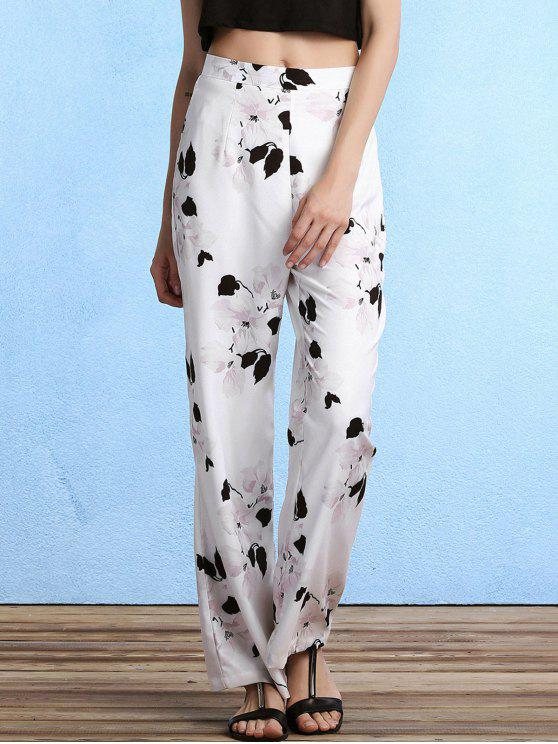 best Floral Print High Waist Straight Leg Pants - WHITE S