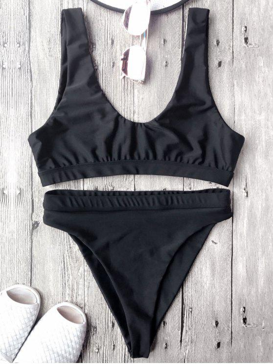 High Cut Scoop Front Bikini Set - Black M