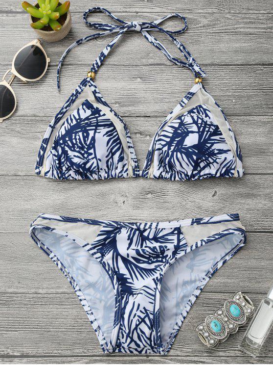 fashion Mesh Insert Leaf Print Halter Bikini Set - BLUE AND WHITE M