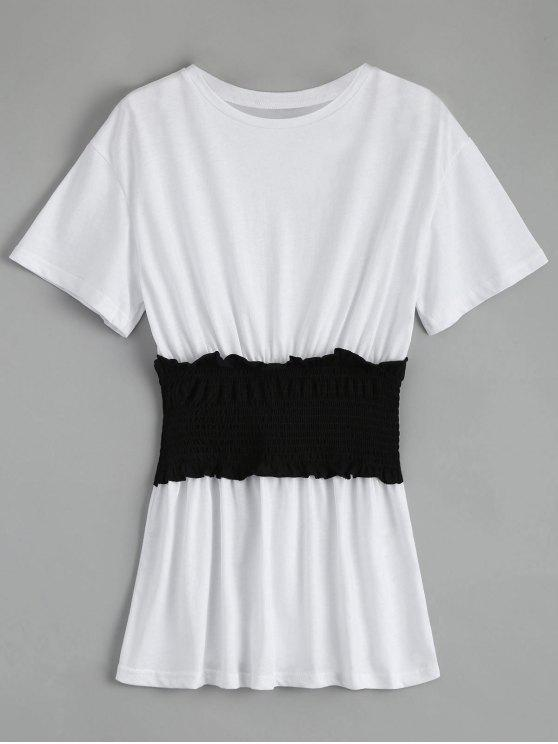 chic Color Block Smocked Top - WHITE S