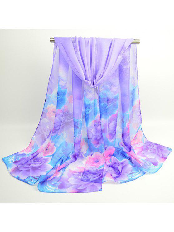 Acuarela Multicolor Flores Impreso Bufanda Chal - Púrpura