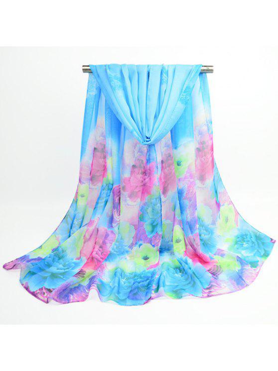 ألوان مائية متعدد الألوان شال وشاح مطبوع - أزرق سماوي
