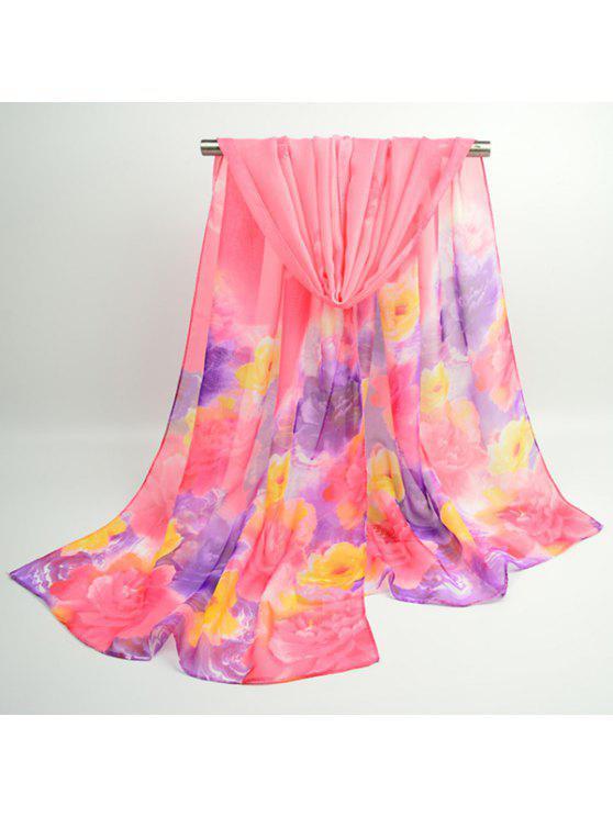 Acuarela Multicolor Flores Impreso Bufanda Chal - Rosa