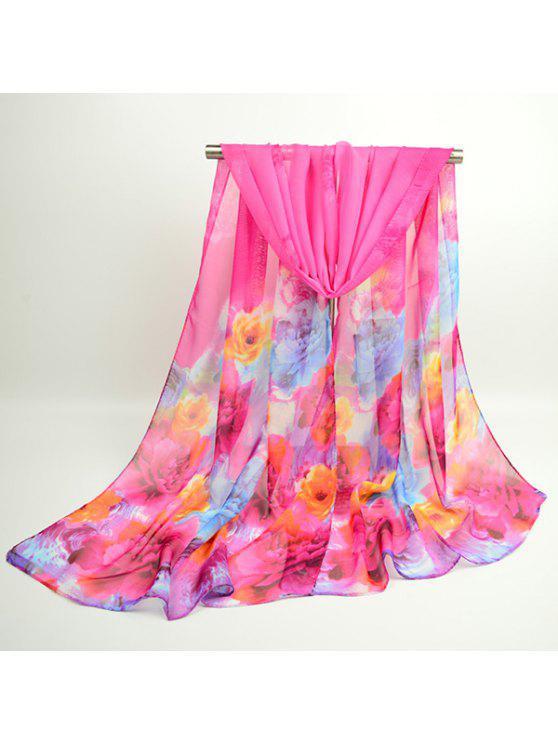 Acuarela Multicolor Flores Impreso Bufanda Chal - Cientos de Fructosa