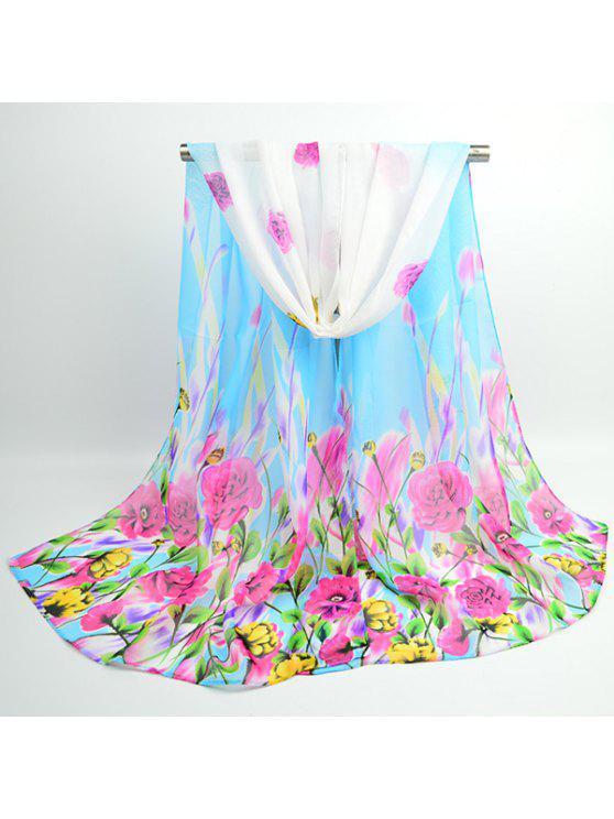 Flores de lujo floreciente bufanda chal chifón - Azur