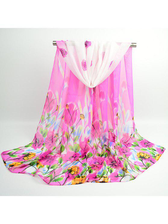 Flores de lujo floreciente bufanda chal chifón - Sangria