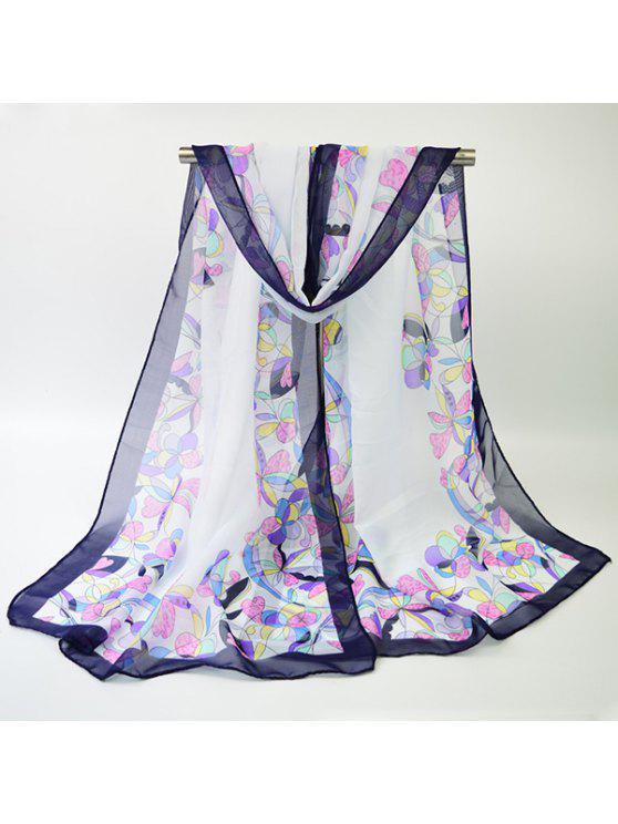 خمر متعدد الألوان الزهور حافة المطبوعة شال وشاح - أبيض