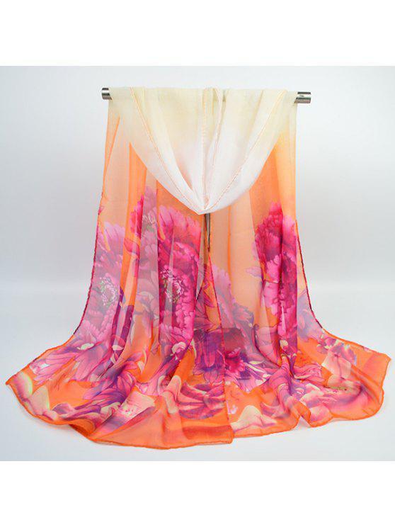 Chiffon pintado a mano Peony impreso bufanda - Rosa+Naranja