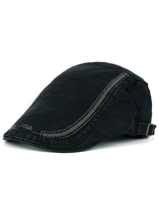 Letras de metal Embellished Stripe Bordados Newsboy Hat - Preto