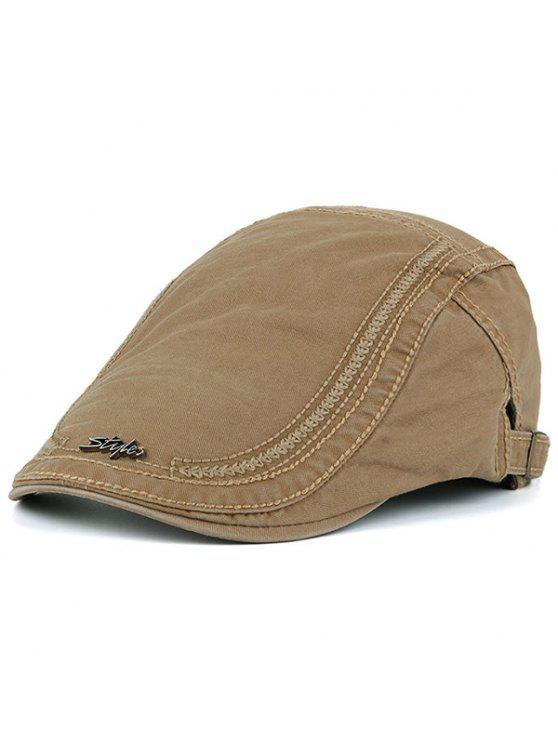 قبعة نيوزبوي مزينة بكتابة معدنية للرجال - كاكي