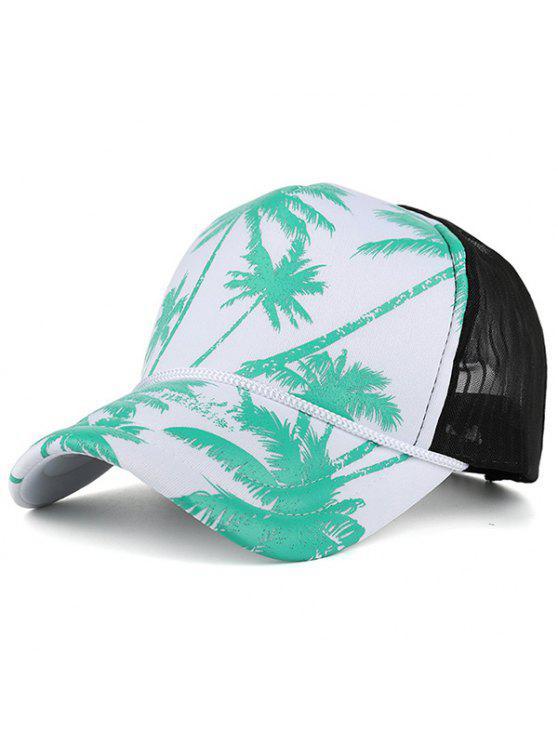 Palma de coco impressa malha empunhada Hat Baseball - Azul Verde