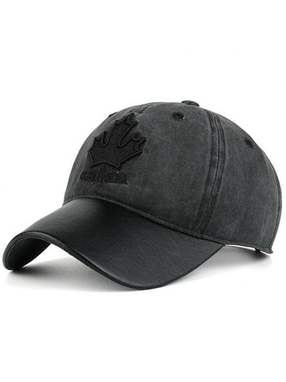 قبعة بيسبول مطرزة بورقة القيقب - أسود رمادي