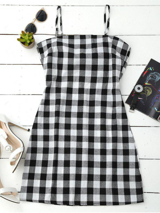 best Slip Tie Back Plaid Dress - BLACK WHITE M
