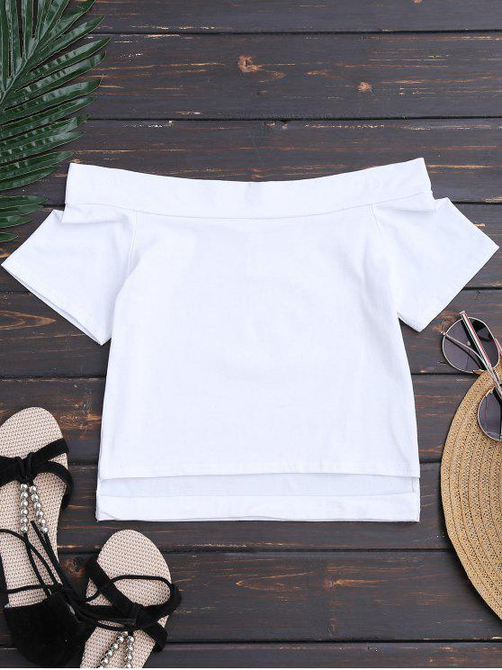 chic Cotton Cropped Off The Shoulder Top - WHITE M