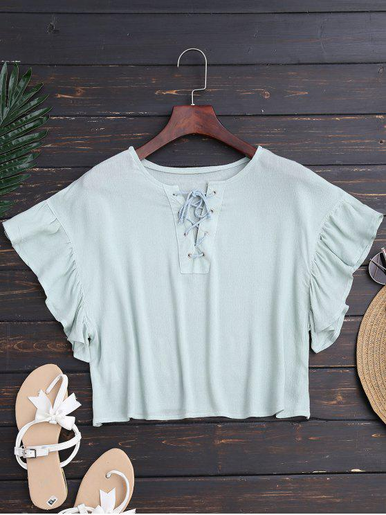 ladies Ruffles Cropped Lace Up Top - LIGHT GREEN M