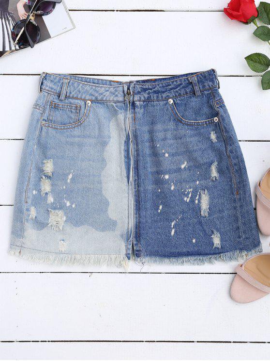 chic Cutoffs Ripped Denim Skirt - DENIM BLUE L