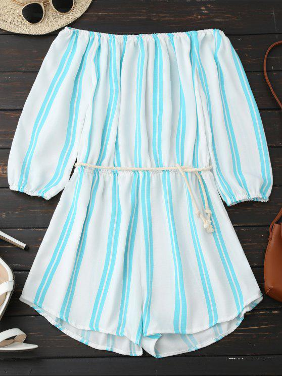 fashion Off Shoulder Striped Romper - STRIPE L